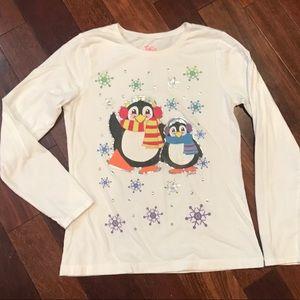 Justice white winter penguin t-shirt